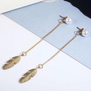 *Coming soon* faux pearl feather dangle earrings